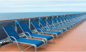 Fun in the sun! Chairs on a cruise ship's deck.
