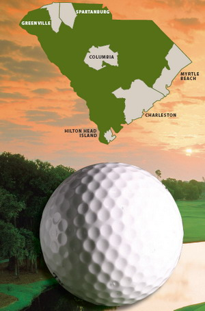Golf ball in front of a photo of a golf course with a SC Map above it
